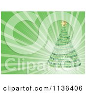 Cartoon Of A Christmas Tree Over Green Rays Royalty Free Vector Clipart by Andrei Marincas