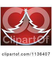 Cartoon Of A Silver Christmas Tree Over Red Dots Royalty Free Vector Clipart by Andrei Marincas