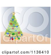 Cartoon Of A Christmas Tree In A Corner Royalty Free Vector Clipart by Andrei Marincas