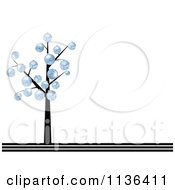 Cartoon Of A Bare Christmas Tree With Blue Baubles And Copyspace Royalty Free Vector Clipart by Andrei Marincas
