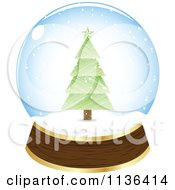 Cartoon Of A Christmas Tree Snow Globe Royalty Free Vector Clipart by Andrei Marincas