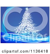 Cartoon Of A Christmas Tree Over Blue With Rays Royalty Free Vector Clipart by Andrei Marincas