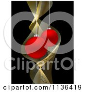 Cartoon Of Red Christmas Baubles And Gold Waves On Black Royalty Free Vector Clipart