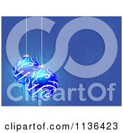 Cartoon Of Blue Christmas Baubles Over Blue With Fireworks Royalty Free Vector Clipart