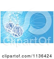Cartoon Of Christmas Baubles And White Scribbles Over Blue Royalty Free Vector Clipart