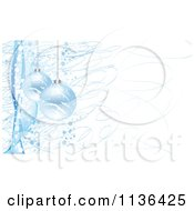 Cartoon Of Blue Christmas Baubles And Scribbles Over White Royalty Free Vector Clipart