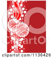 Cartoon Of Christmas Baubles Over Red With Waves And Dots Royalty Free Vector Clipart