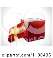 Clipart Of A 3d Red Christmas Gift Box With A Gold Ribbon Royalty Free Vector Illustration