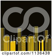 Clipart Of Retro Yellow City Urban Skyscrapers With Black Copyspace Royalty Free Vector Illustration