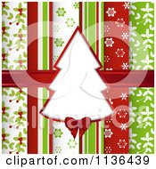 Clipart Of A Christmas Tree Frame Over Scrapbook Papers And A Ribbon Royalty Free Vector Illustration by elaineitalia