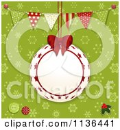 Suspended Bauble Frame Over Green Snowflakes With Bunting Flags