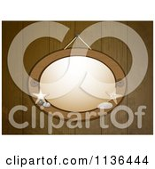 Clipart Of A Wooden Nautcal Oval Frame On Panels Royalty Free Vector Illustration by elaineitalia