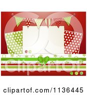 Clipart Of Christmas Scrapbook Papers Buttons And Flags On Red Royalty Free Vector Illustration by elaineitalia