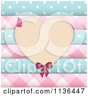 Clipart Of A Heart Frame Over Scrapbook Papers And Buttons Royalty Free Vector Illustration by elaineitalia
