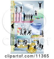 Businessmen Working Together And Using A Giant Piece Of Machinery Clipart Illustration