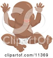 Happy African American Baby In A Diaper Sitting With Its Hands Up