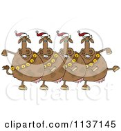 Chorus Of Christmas Cows With Bells Dancing The Can Can