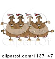 Cartoon Of A Chorus Of Christmas Cows Dancing The Can Can Royalty Free Vector Clipart by djart