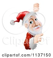 Cartoon Of Santa Pointing To A Christmas Sign Royalty Free Vector Clipart
