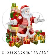 Cartoon Of Santa Standing In Front Of A Stack Of Presents Royalty Free Vector Clipart