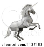 Clipart Of A Rearing Silver Unicorn Royalty Free Vector Illustration by AtStockIllustration