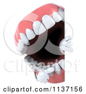 Clipart Of A 3d Dentures Character Holding A Sign 3 Royalty Free CGI Illustration