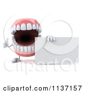 Clipart Of A 3d Dentures Character Holding A Sign 4 Royalty Free CGI Illustration