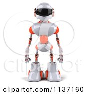 3d White And Orange Male Techno Robot