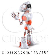 Clipart Of A 3d White And Orange Male Techno Robot Waving And Facing Right Royalty Free CGI Illustration