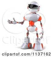 Clipart Of A 3d White And Orange Male Techno Robot Presenting Royalty Free CGI Illustration