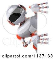 Clipart Of A 3d White And Orange Male Techno Robot With A Sign 1 Royalty Free CGI Illustration