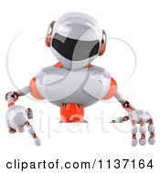 Clipart Of A 3d White And Orange Male Techno Robot With A Sign 2 Royalty Free CGI Illustration