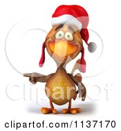 Clipart Of A 3d Christmas Chicken Pointing Left Royalty Free CGI Illustration
