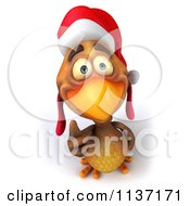 Clipart Of A 3d Christmas Chicken Holding A Thumb Up Royalty Free CGI Illustration