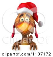 Clipart Of A 3d Christmas Chicken Holding A Sign 1 Royalty Free CGI Illustration