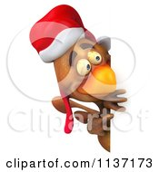Clipart Of A 3d Christmas Chicken Holding A Sign 2 Royalty Free CGI Illustration