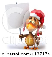 Clipart Of A 3d Christmas Chicken Holding A Sign 3 Royalty Free CGI Illustration