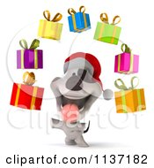 Clipart Of A 3d Christmas Jack Russell Terrier Juggling Gifts Royalty Free CGI Illustration