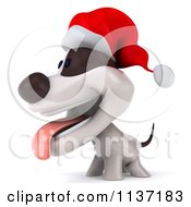 Clipart Of A 3d Christmas Jack Russell Terrier Dog Facing Left Royalty Free CGI Illustration