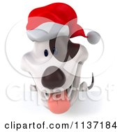 Clipart Of A 3d Christmas Jack Russell Terrier Dog Over A Sign Royalty Free CGI Illustration