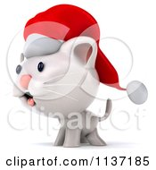 Clipart Of A 3d Christmas Kitten Facing Left Royalty Free CGI Illustration