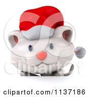 Clipart Of A 3d Christmas Kitten Looking Over A Sign Royalty Free CGI Illustration