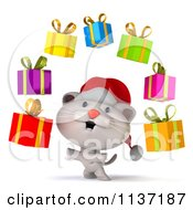 Clipart Of A 3d Christmas Kitten Juggling Presents Royalty Free CGI Illustration