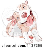 Cartoon Of A Happy Pit Bull Dog Itching His Ear Royalty Free Vector Clipart