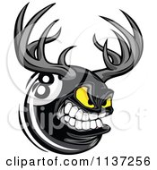 Cartoon Of An Aggressive Eight Ball With Antlers Royalty Free Vector Clipart