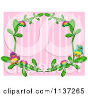 Vine And Bird Frame Over Pink Stripes