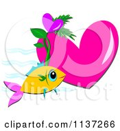 Pink Heart With An Orange Fish And Waves