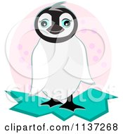 Cartoon Of A Cute Penguin Over A Pink Oval Royalty Free Vector Clipart
