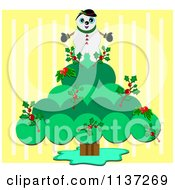 Snowman On A Christmas Holly Tree Over Yellow