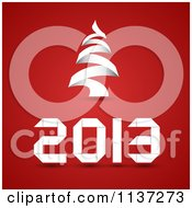 Clipart Of White New Year 2013 And Christmas Tree On Red Royalty Free Vector Illustration
